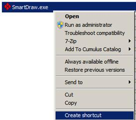 Through Windows Explorer, browse to the SmartDraw installation directory on the server, and select SmartDraw.