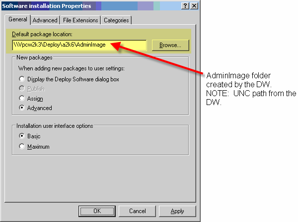 Navigate to the AdminImage folder created by the Deployment wizard as shown in Figure 12. Click OK. You are returned to Software installation Properties window. Figure 12: Browse for Folder window 8.