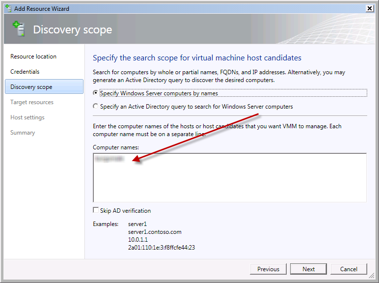 Team Foundation Server 2012 Installation Guide Page 117 of 143 You should now see the Specify the search scope for the virtual machine host candidates screen.