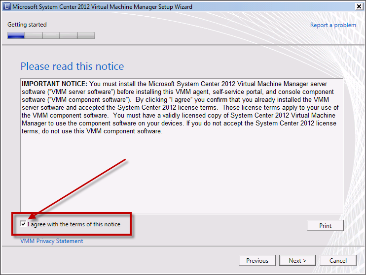 Team Foundation Server 2012 Installation Guide Page 128 of 143 You should now see the Please read this notice screen.
