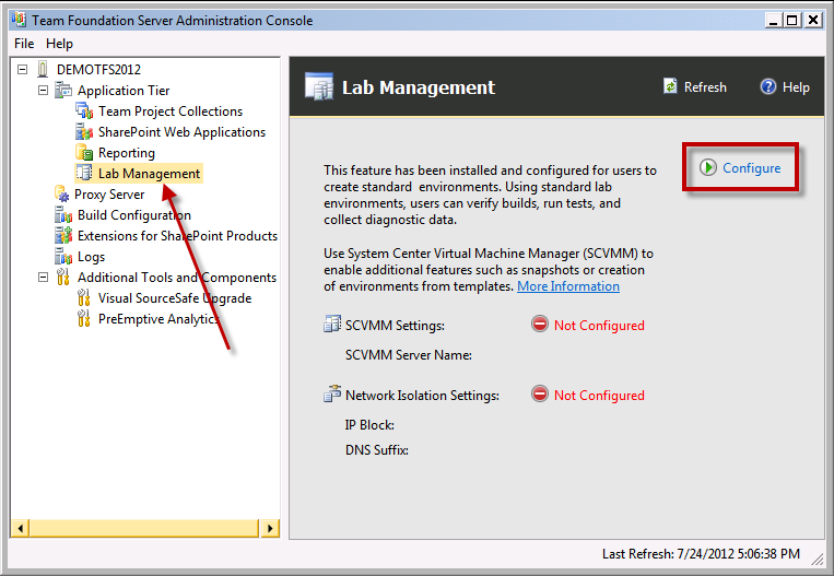Team Foundation Server 2012 Installation Guide Page 134 of 143 When the administration console loads, you ll need to