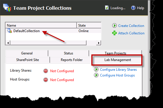 Team Foundation Server 2012 Installation Guide Page 137 of 143 To configure your Team Project Collection(s) for Lab Management, start by going to the Team Project Collections node.