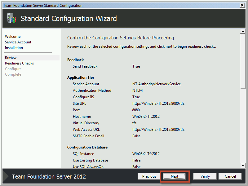 Team Foundation Server 2012 Installation Guide Page 47 of 143 You should now