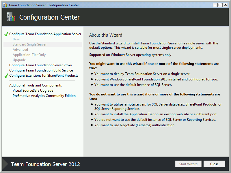 Team Foundation Server 2012 Installation Guide Page 52 of 143 You should now be back
