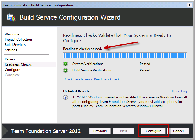 Team Foundation Server 2012 Installation Guide Page 70 of 143 The installer will run some verifications to see