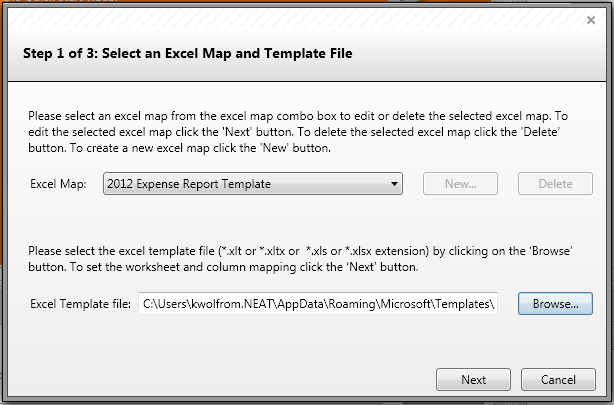 Mapping your Excel Template in Neat 5 1. Now that you ve created your template in Excel, you are ready to map it in Neat 5.