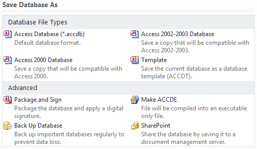 Working with new and old Access files Access 2010 (and Access 2007) databases use a new format for saving files.
