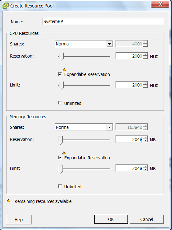 2. On the left pane, right-click the target cluster name and select New Resource Pool. The Create Resource Pool dialog appears. 3. Enter a Name for the resource pool.