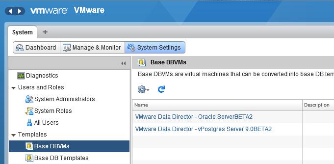 To convert a database VMs into a template, follow this procedure: 1. Click on Manage and Monitor and from the left pane select Base DBVM a.
