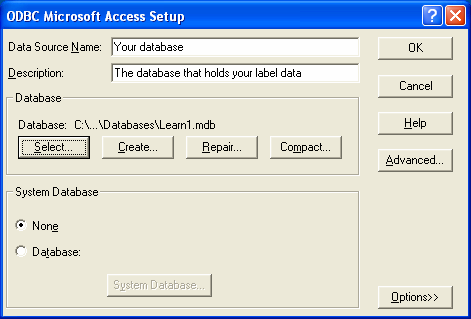 23. Click the [Select] button on the ODBC Microsoft Access Set Up screen. The following screen will appear. Select the Access Database to be used for the Label.