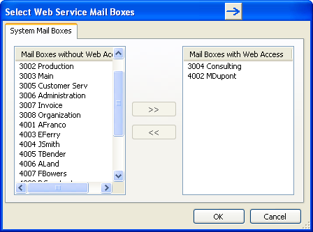 Select Web Service Mail Boxes By double clicking on the UMS Web Services license, multiple Users and Hunt Groups can be enabled for UMS simultaneously