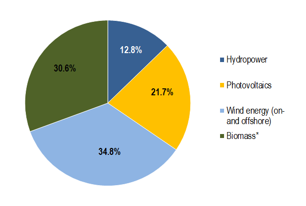Source: BMWi (2015) Renewable shares in the electricity sector (2014). 160.