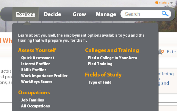 Fields of Study 1. Hover over the Explore Tab and select Type of Field. 2. You will see all of the families of college programs. Click on Business and Financial Operations Majors. 3.