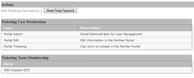 3.1.2 EDIT A PARTNER PORTAL USER The ticketing permissions can be changed for all existing users using Edit Ticketing Permissions option at any time after initial setup. Figure 3-2.