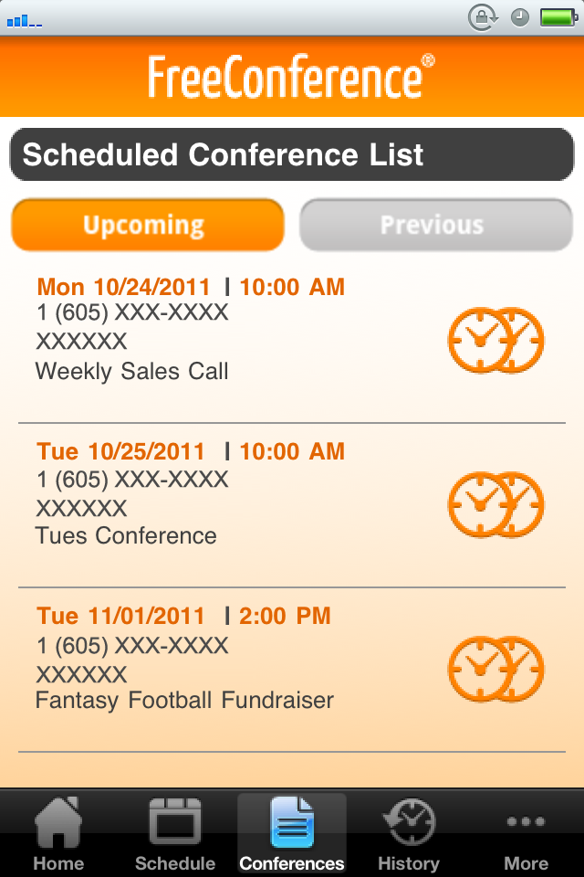 Scheduled Conference List 1. From anywhere in the app, select Conferences in the Mobile App Menu (see figure 18). 2.