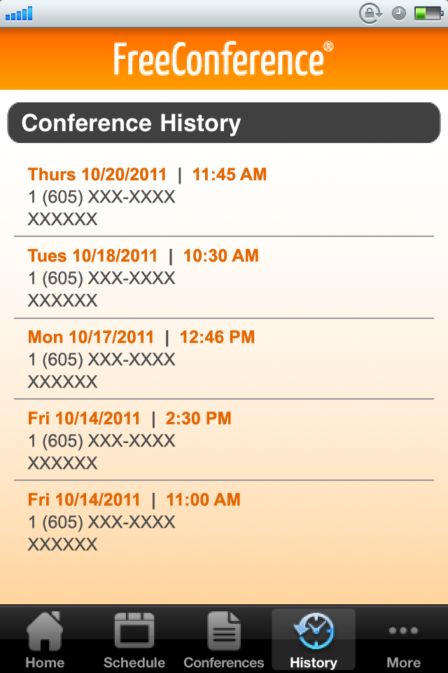 Conference History 1. From anywhere in the app, select History in the Mobile App Menu (see figure 19). 2.