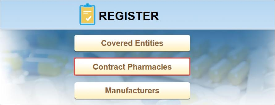 Major Sections in This Guide: 2) On the Register screen, click Contract Pharmacies.
