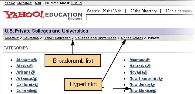 Hyperlinks Provide access to other Web pages Specially coded