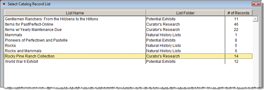 592 PastPerfect Museum Software User s Guide Adding Records from a Catalog List If you have a group of records that you want to put on a Virtual Exhibit, you can create a catalog list in PastPerfect
