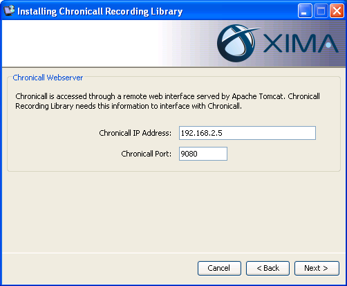 On the Installation Folder page please indicate the directory where you would like to install Chronicall.