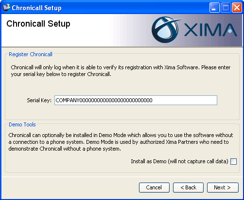 On the Register Chronicall page, please type in (or copy/paste) the serial key that was previously provided to you from Xima Software.