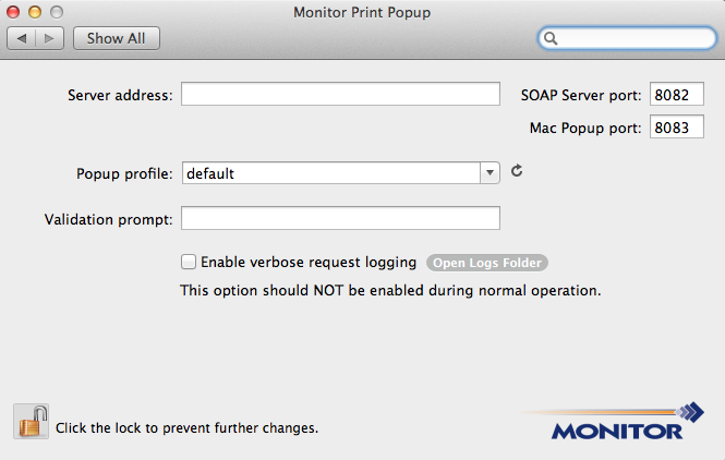 Administrator Guide Configuring Monitor Popup If the PrintPopupPreferences.plist file was configured before the Monitor Popup application was installed, there is no further configuration required.