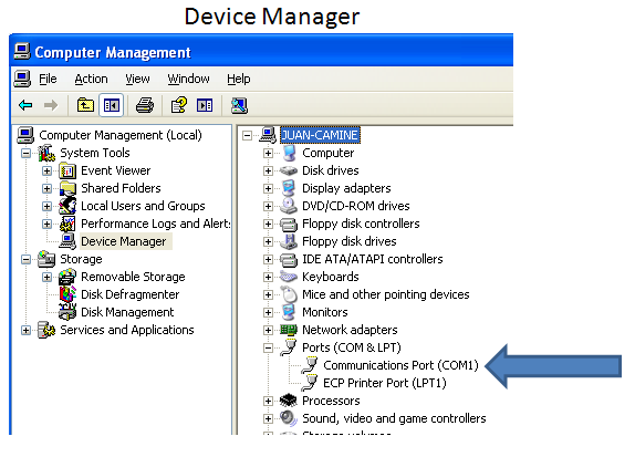Verifying Successful serial COM port Installation If you desire to double check that the serial port was setup correctly then access device manager and verify the port shows up as shown below.