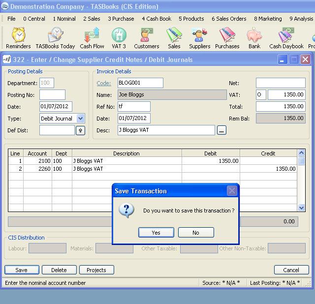 6. Transfer VAT element to VAT Control Account Raise a debit journal (Credit Note) using