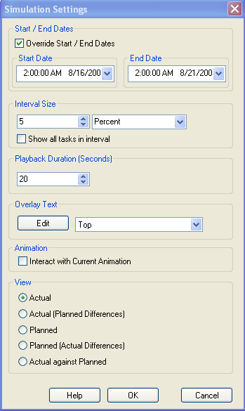 simulation duration or to an absolute number of days or weeks, etc. Use the drop down to select the interval unit, then use the Up and Down arrow buttons to increase or decrease the interval size.