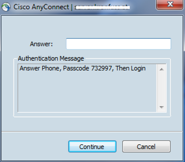 4.1 Test logon AnyConnect Client User then enters existing Domain User ID and Domain password. Click OK to continue. User is then prompted to enter a 6 digit passcode.