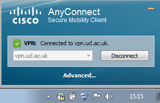 Connect button Enter your IS userid and password when prompted Once authenticated, the client will connect to the UCL VPN service.