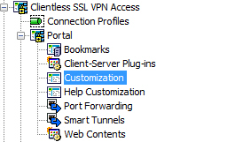 4. In the Cisco ASDM client select Configuration, Remote Access VPN. 5. Expand Clientless SSL VPN Access, Portal and highlight Customization. 6.