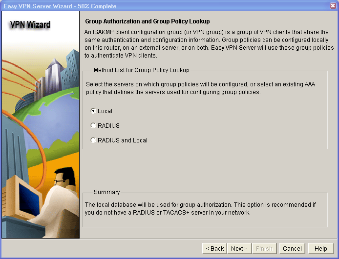 b. Click Next to accept the default transform set. Step 5: Specify group authorization and group policy lookup. a. In the Group Authorization and Group Policy Lookup window, choose the Local option.
