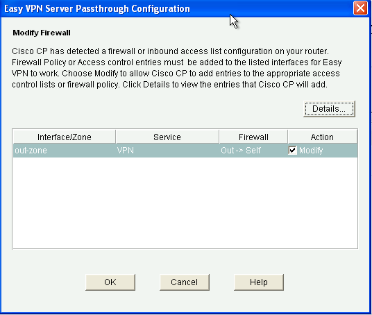 j. When the Easy VPN Server Passthrough Configuration window displays, make sure that the Action Modify check box is checked.
