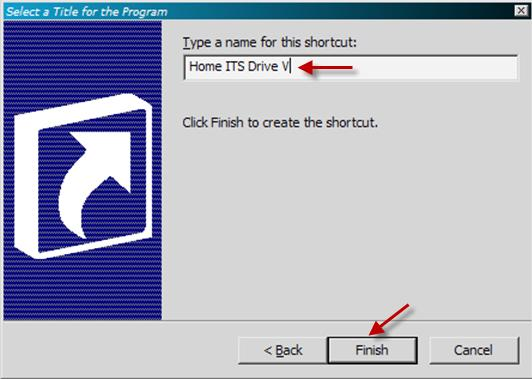 3. We now specify a name for the shortcut and click Finish 4.