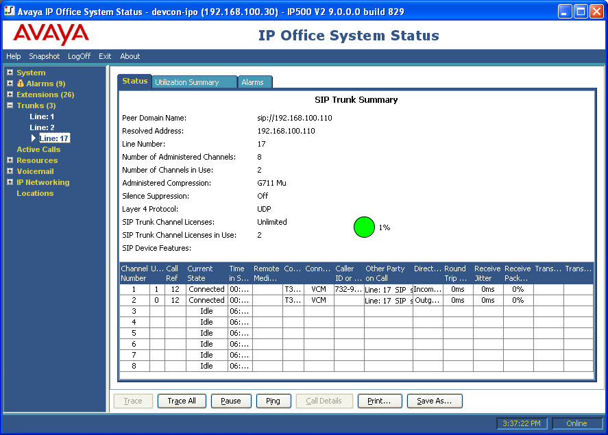 7.2. Verify Avaya IP Office From the Avaya IP Office R9 Manager screen shown in Section 5.