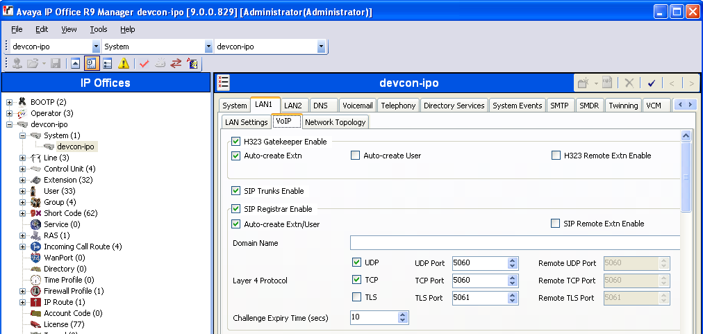 5.2. Obtain LAN IP Address From the configuration tree in the left pane, select System to display the System screen for the IP Office 500 V2 in the right pane.