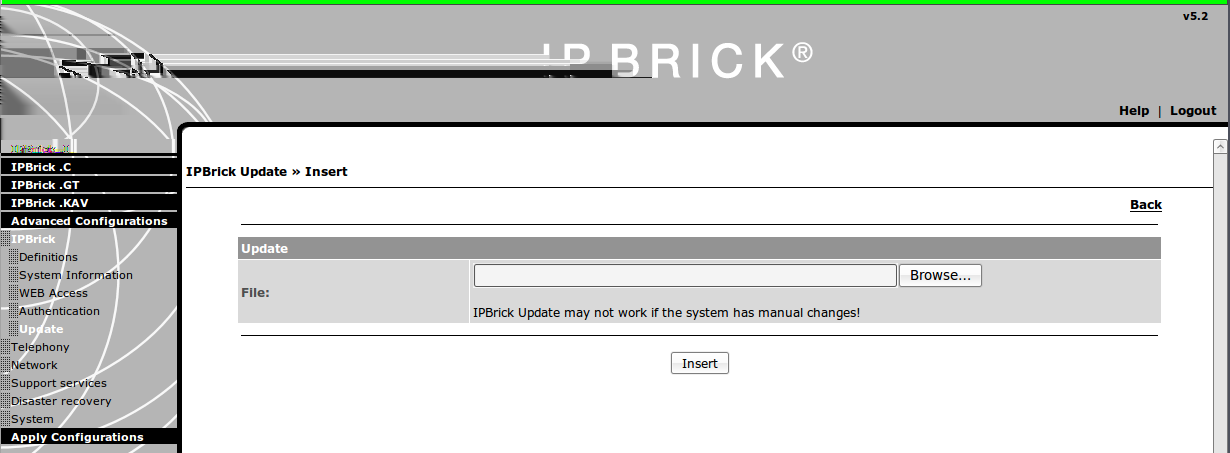 Figure 2: IPBrick Update page Install them in this order: (a) fogpackages_1.0.deb (b) fog4ipbrick_1.0.deb. 2. Click on the Browse button, select the fogpackages_1.0.deb and install it; 3.