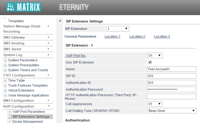 Security on VoIP when ETERNITY is used as SIP Server (SIP Extensions are registered over LAN