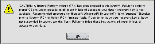 Trusted platform module support issues When used with BitLocker, the Trusted Platform Module measures a system state and, upon detection of a changed ROM image, restricts access to the Windows file
