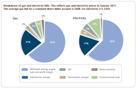 Distribution charges account for approximately 20% of bills, while environmental charges are 4% of an average gas bill and 10% of an average electricity bill. Why Are Energy Bills Rising?