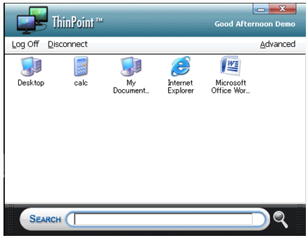 ThinPoint Client Guide 43 Note: To add or modify applications presented in the Remote Application panel please refer to ThinPoint Desktop and Application Virtualization section The three icons at the