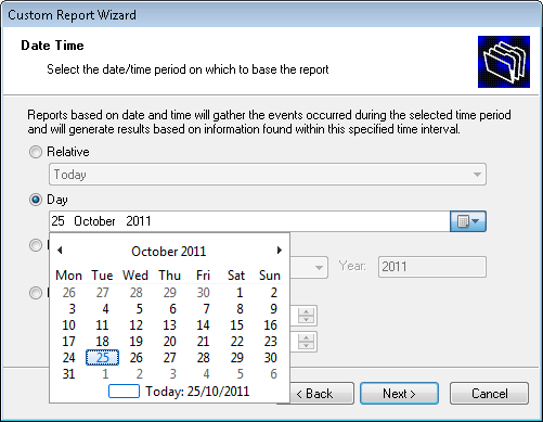 Screenshot 6: Selecting date and time 3. Select Day option and expand the provided drop down. This will launch the date selection calendar. 4. Navigate to the required month (For Example.