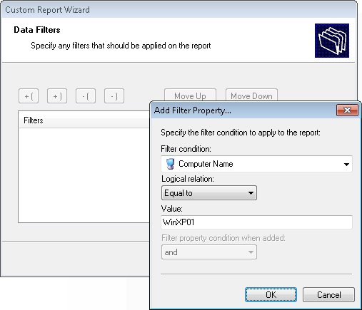 Screenshot 11: Specifying data filter conditions 4. Configure the data filter conditions that will be applied against the selected data source. Click on Next to continue.