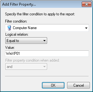 Screenshot 12: Custom Report Wizard: Filters dialog Click Add to launch the Edit filter properties dialog.
