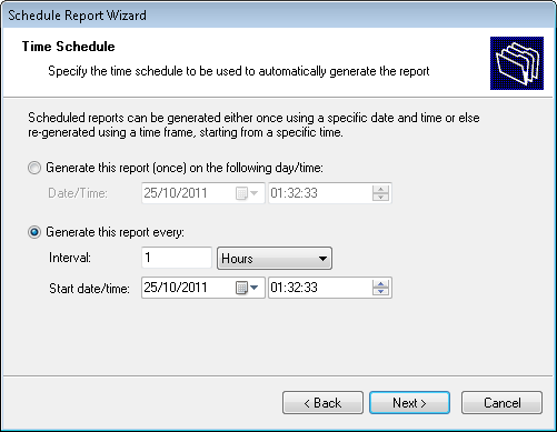 Screenshot 18: Report Scheduling Wizard: Data-set selection dialog 3. Select the device usage period to be covered by this report.
