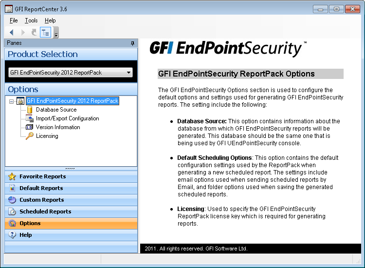 6 Configuring default options The GFI EndPointSecurity GFI ReportPack allows you to configure a default set of parameters which can be used when generating reports.