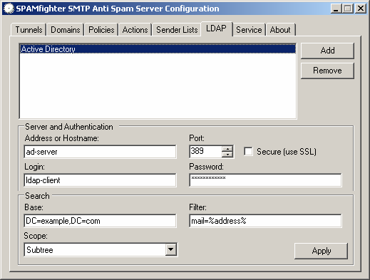 5.6 LDAP Recipient Address Validation Some destination servers (such as Exchange 5.5, 2000) and antivirus gateways are unable to perform recipient address validation during SMTP transactions.