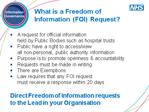 SLIDE 15: What is a Freedom of Information Request? Appropriate to emphasise here the difference between the Data Protection Act principles and Freedom of Information Act.