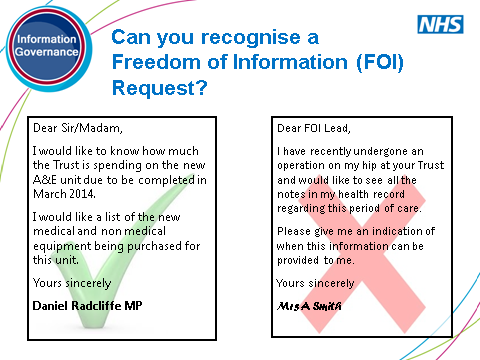Ask the group who their FOI Lead is. If they don t know discuss how they could find out. Provide some possible examples of exemptions. FOI Lead will decide.